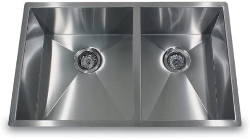 Nantucket Sinks ZR3219-OS-16 33-Inch Pro Series Offset Double Bowl Undermount Kitchen Sink, Stainless Steel