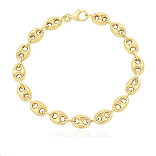 14K SOLID Yellow Gold 7.8MM Puff Mariner/Marina Chain Bracelet - Puff Anchor chain-7.5