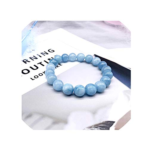 Natural Aquamarine Bracelet Single Crystal Elastic Romantic Crystal Blue Bracelet Woman Jewelry 4,6,8,10,12Mm Beads,Beads 8Mm ()