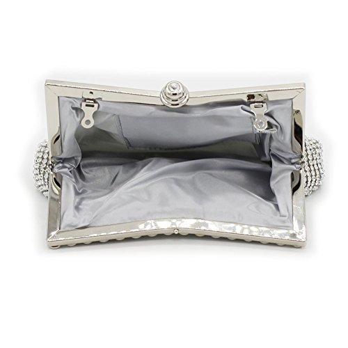 B-JOY - Cartera de mano para mujer plateado plata L 8.3 IN * W 2 IN * H 3.9 IN plata