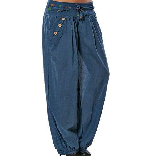spiaggia donna sbuffo con larghi Aladdin Pantaloni Beach da Blu Scuro Harem Hellomiko Pantaloni estivi pantaloni a 5YBxqwUf