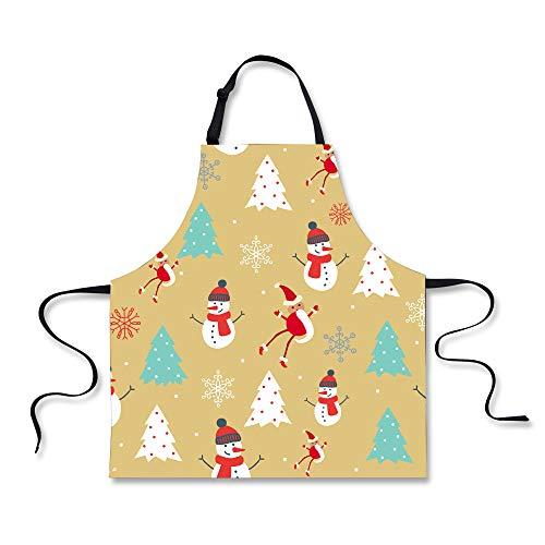 HUGS IDEA Merry Christmas Apron Snowman Tree Pattern Kitchen Cooking Aprons for Women Ladies Man