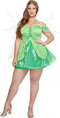 Melonhopper Women's Plus Size Forest FAE Fairy Costume Woodland Realm Green (Fairy Woodland Green)