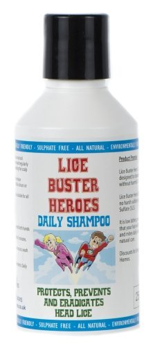 Lice Buster Heroes Daily Head lice eliminator Shampoo 250ml to Eradicate and Prevent Infestation of Head Lice. Natural Enzymes