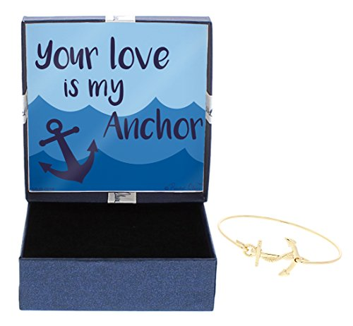 Preppy Anchor Jewelry Your Love is My Anchor Heart Anchor Bracelet Fashion Gold-Tone Bangle Bracelet Jewelry Box Keepsake Gift Boating Girlfriend by Gift Jewelry By Rachel Olevia
