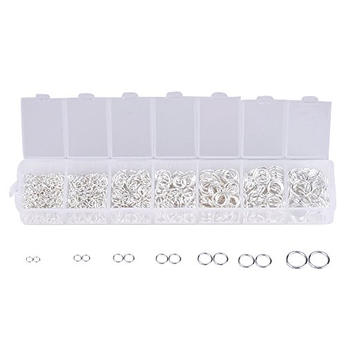 eBoot 1500 Pcs Open Jump Rings 3mm 4mm 5mm 6mm 7mm 8mm 10mm Box Set for DIY Jewelry Making Findings