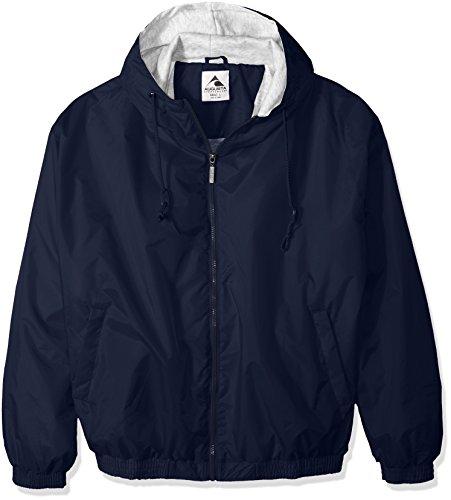 Augusta Hooded Fleece Lined Taffeta Jacket (Navy) (2X) by Augusta Sportswear