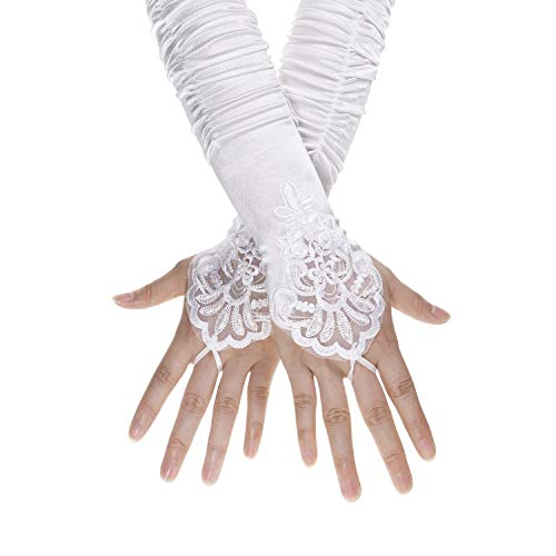 Lace Gloves Plus Size - Penta Angel 1920s White Long Opera Gloves with Finger Loops Stretchy Fingerless Floral Embroidery Sequins Stain Evening Bridal Party Elbow Gloves for Women Girls Theme Party Halloween Costume