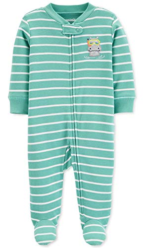 Carter's Baby Boys' Cotton Zip-Up Sleep N Play (6 Months, Hippo Stripe Green)