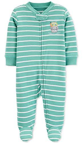 (Carter's Baby Boys' Cotton Zip-Up Sleep N Play (3 Months, Hippo Stripe Green))