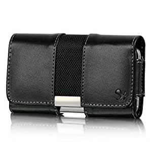 Quaroth VMG Apple iPhone 4 4S Leather Holster Carrier Belt Clip Case Cover - Black w/ Metal Trim Design Horizontal Carrying...