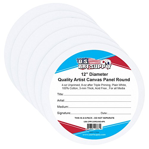 U.S. Art Supply 12 inch Diameter Round Cut Edge Artist Quality Acid Free Canvas Panel Boards 6-Pack (1 Full Case of 6 Single Canvas Panel Boards) (Diameter Panel)