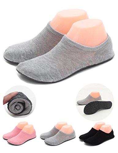 LANSA Women Slipper Socks Warm Thick Home Shoes Socks With Soles Rubber Bottom Non Slip Fun Wear Thin Grey