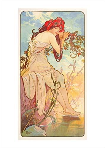 ポスター ミュシャ 『四季-夏』 A4サイズ 【返金保証有 日本製 上質】 [インテリア 壁紙用] 絵画 アート 壁紙ポスター