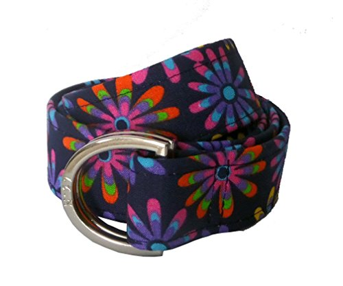 No27 Women's Colorful Flower Power D-Ring Fabric Belt Large Multicolored - Flower Power Fashion Belt