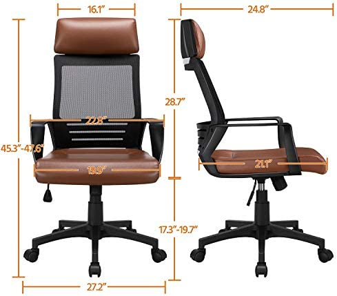 YAHEETECH Ergonomic Mesh Office Chair with Leather Seat, High Back Task Chair with Headrest, Rolling Caster for Meeting Room, Home Brown 41h0l5wk0GL