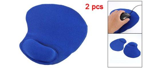 Household PC Laptop Blue Mouse Pad Wrist Rest Support 2 Pcs