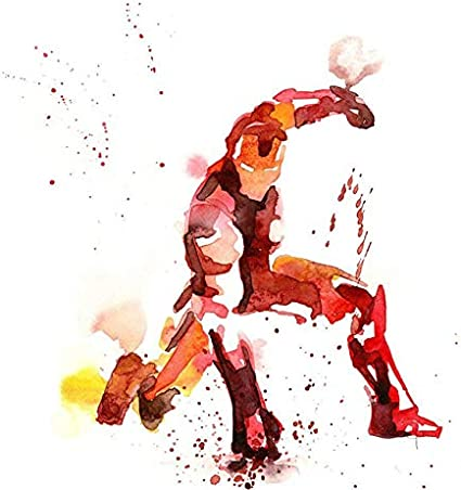SDFSD Dibujos Animados Acuarela Graffiti Hollywood Película Personaje Superhéroe Hierro Verde Hombre Héroes Lienzo Pintura Arte Cuadro póster Dormitorio decoración del hogar 40X40 CM