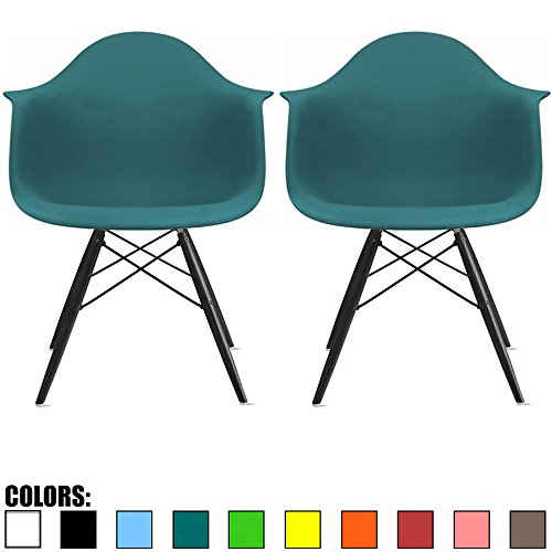 2xhome Set of Two  Teal - Eames Armchair Black Wood Legs Eif