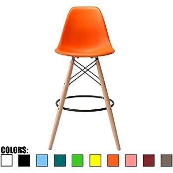 Amazon Com 2xhome Orange 28 Quot Seat Height Eames Style