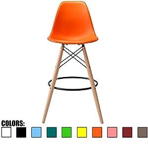 Amazon Com 2xhome Orange 25 Quot Seat Height Eames Style