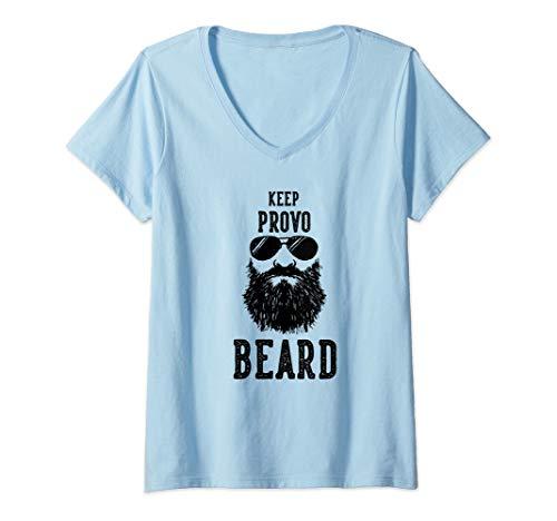 Womens Keep Provo Utah BEARD Funny Hipster Retro  V-Neck ()