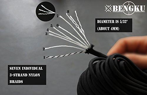BENGKU Outdoor Survival Mil-SPEC 550lb Paracord/Parachute Cord(MIl-C-5040-H),100Feet,100% Nylon. (Black & Orange, 200.00) by BENGKU (Image #1)