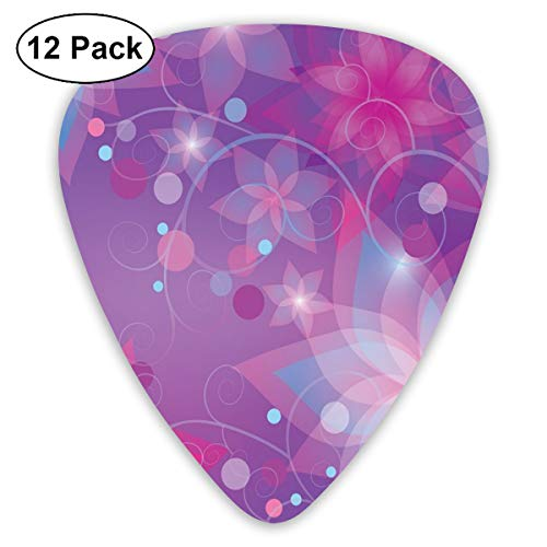 Guitar Picks - Abstract Art Colorful Designs,Floral Dreamlike Composition With Romantic Lilies Little Dots Swirls,Unique Guitar Gift,For Bass Electric & Acoustic Guitars-12 Pack ()