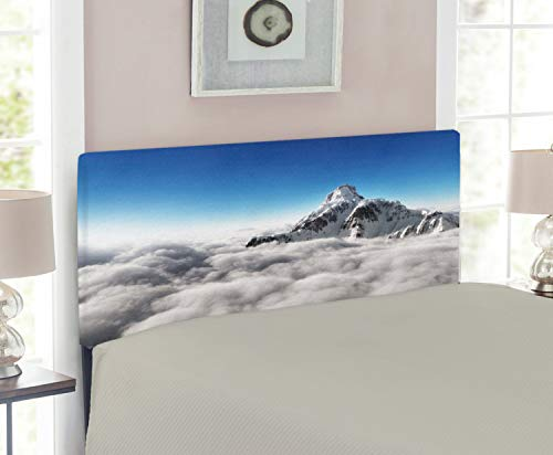 - Ambesonne Mountain Headboard for Twin Size Bed, Highest Mountain Above The Clouds with Clear Sunny Sky Background Earth is Magic, Upholstered Decorative Metal Headboard with Memory Foam, White Blue