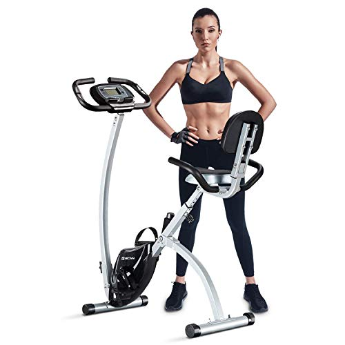 BCAN Folding Exercise Bike, Magnetic Upright Bicycle with Heart Rate, Speed, Time, Distance, Calorie Monitor - Grey/Black 2019 Version