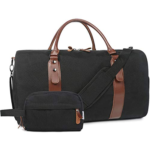 """Oflamn 21"""" 900D Weekender Bags Leather Duffle Bag Overnight Travel Carry On Tote Bag with Luggage Sleeve (Black)"""