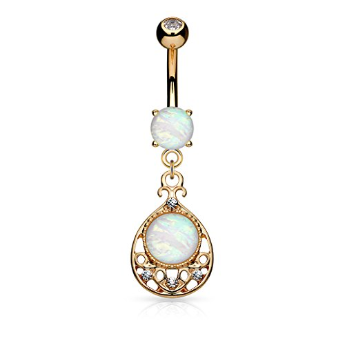 (Opal Glitter Center Vintage Filigree Dangling Belly Button Ring (Rose Gold Tone))