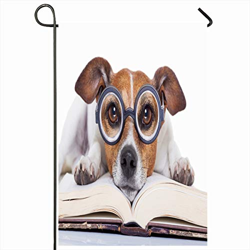 Ahawoso Seasonal Garden Flag 12x18 Inches Dog Jack Russell Reading Book Cute Nerd Funny Magazine Antique Blank Design Home Decorative Outdoor Double Sided House Yard Sign