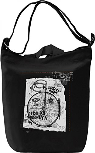 Brooklyn ride Borsa Giornaliera Canvas Canvas Day Bag| 100% Premium Cotton Canvas| DTG Printing|