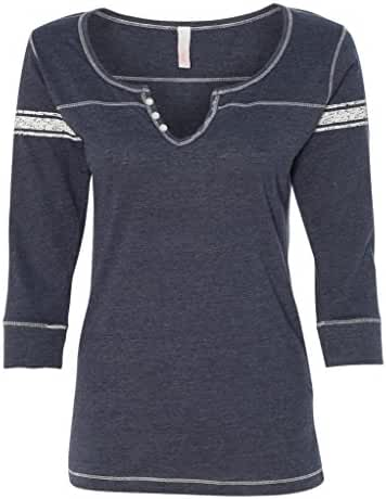 MV Sport-Ladies' Hailey Henley 3/4 Sleeve T-Shirt-W1454