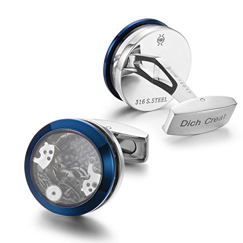 Dich Creat Unisex Stainless Steel Blue Rings Funny Gear Watch Parts Movement Cufflinks