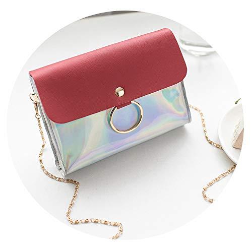 Laser Crossbody Bag For Women Chain Mini Shoulder Bag Circle Small Messenger Bag,Red ()