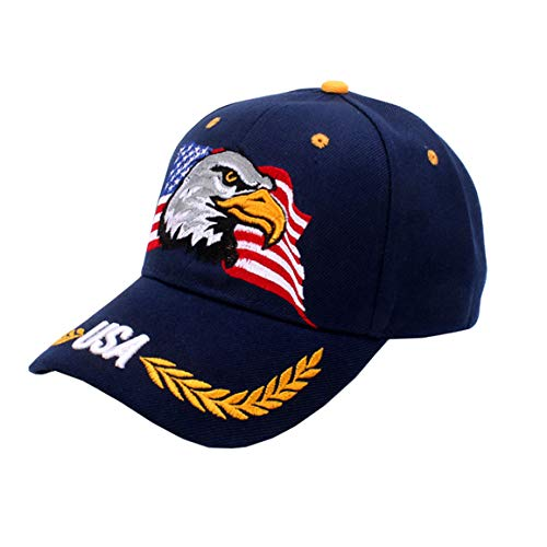 - USA-Flag Eagles-Hat American Baseball-Cap Embroidered Navy