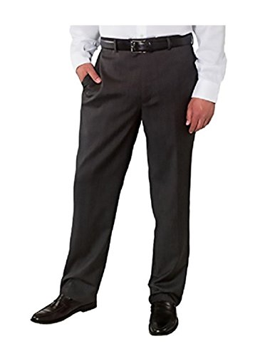 Kirkland Signature Mens 100% Wool Flat Front Dress Pants (34Wx32L, (Grey Wool Dress Pant)