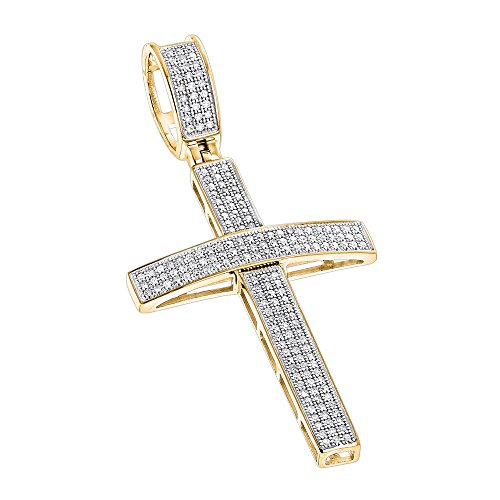 Luxurman 14K Round Pave Set Natural 0.5 Ctw Diamond Cross Pendant (Yellow Gold) 18k Gold Diamond Cross Pendant