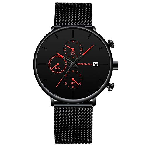 CRRJU 2019 New Fashion Modern Quartz Mesh Wrist Watch for Men with Chronograph Black Dial Red Hands