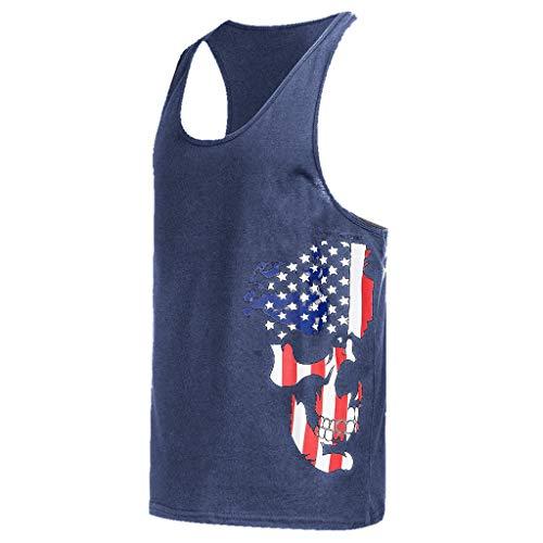(YKARITIANNA Fashion Men's Round Neck Sexy Slim Printed Sport Sleeveless Shirts Tee Vest Tank 2019 Summer Hot Sale)