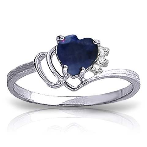 14k White Gold Genuine Diamonds & Heart-shaped Natural Sapphire Ring - Size -
