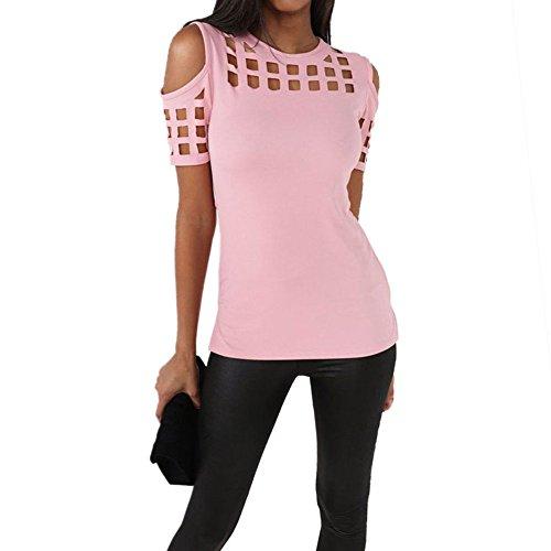 6378baa7f Min Qiao Women s Cutout Cold Shoulder Short Sleeve High Low Casual Top  Blouse Shirt