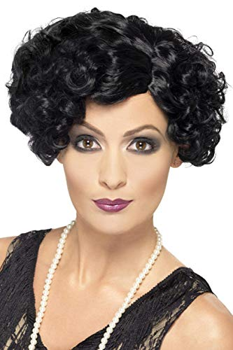 Smiffys Women's Short and Curly Black Flapper Wig, One Size, 20's Flirty Flapper Wig, 5020570424650 ()