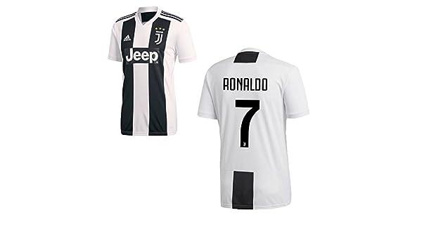 Adidas Camiseta Juventus de Turín temporada 2018-2019, primera equipación, con el nombre de Ronaldo y el número 7, disponible para adultos y niños: ...