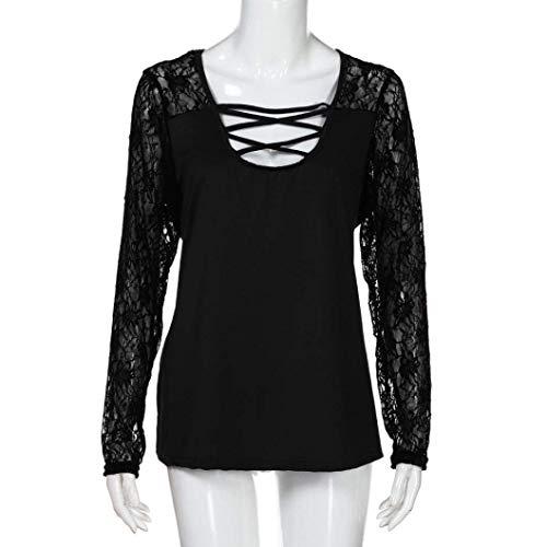 Tops Longues Crossover Creux Femme Confortable Casual Manches U Branch Shirt Chic Mode Elgante Printemps T pissure Dentelle Haut Schwarz Tshirt Col qvBW4XtX