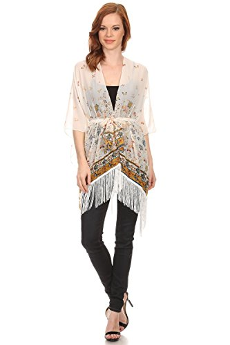 LL Womens Butterfly Garden Kimono Beige Open Front Poncho Lightweight Cover up by BSB