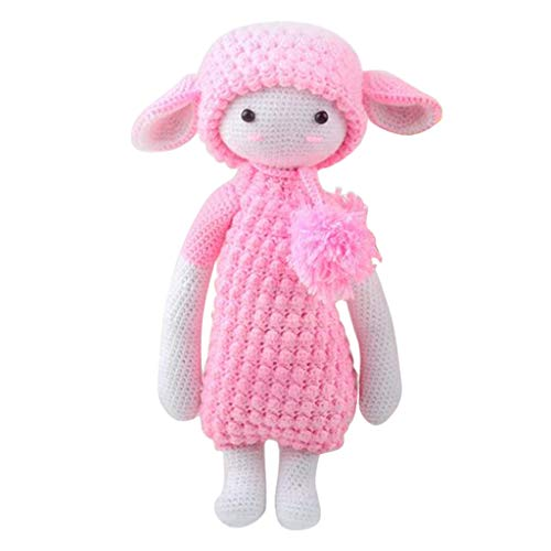 Prettyia DIY Little Lamb Girl Doll Crochet Kit for Beginners Adults Hand Knitting Animals Stuffed Toy Sewing Craft