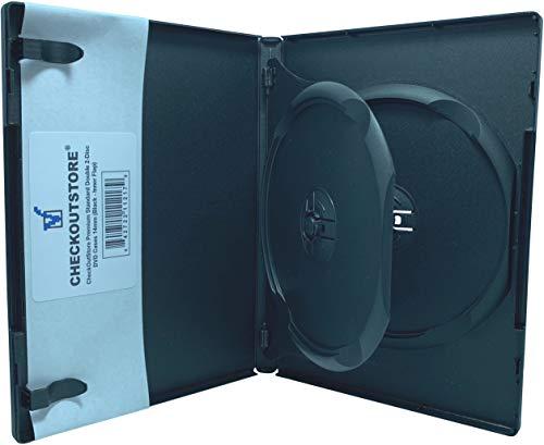CheckOutStore (6) Premium Standard Double 2-Disc DVD Cases 14mm (Black (Inner Flap)) ()